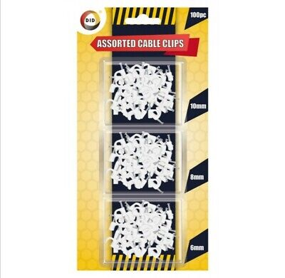 100 Pack White Cable Clips Wall Tacks Wire Cord Detangle Clamp Assorted Sizes • 2.45£