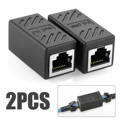 2x RJ45 CAT5 CAT6 Coupler Network Cable Joiner LAN Extender Adapter Connector UK • 2.98£