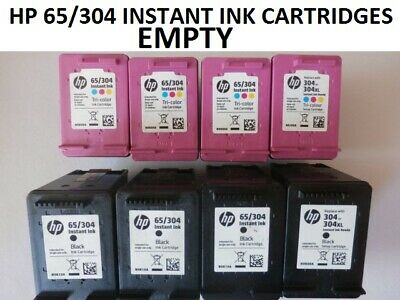 8 X HP INSTANT INK 65/304 EMPTY CARTRIDGES 4 TRI COLOUR + 4 BLACK USED & EMPTY. • 10£