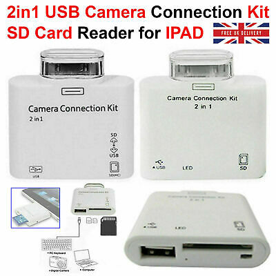 2 In 1 USB Camera Connection Kit Adapter SD Card Reader For IPad IPad 2 Touch UK • 2.98£