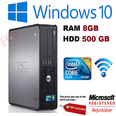 Fast Dell Quad Core Pc Computer Desktop Tower Windows 10 Wifi 8gb Ram 500gb Hdd • 69£