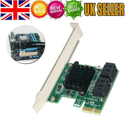 SSU SA3004 4 Port 6G PCI-E To SATA3.0 Expansion Miner SSD IPFS Adapter Card UK • 13.29£
