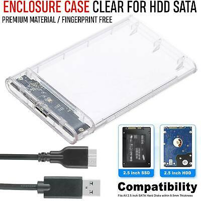 External 2.5 Inch USB 3.0 SATA HDD Hard Drive Caddy Case Enclosure For Laptop PC • 8.10£