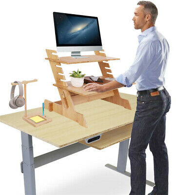 Bamboo Laptop Computer Desk Height Adjustable Work Standing Monitor Riser • 49.95£