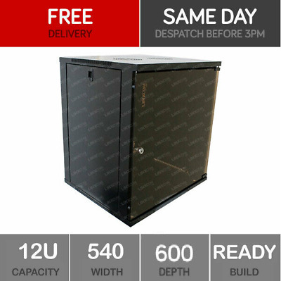 *DAMAGED* 12U Server Rack Network Cabinet 19 Inch 540 X 600mm Black  • 61£