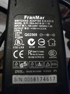 FranMar Switching Adapter Model DSA-0421S-20 1 42 DVE +19V 2.21A  Level 3 • 15.95£
