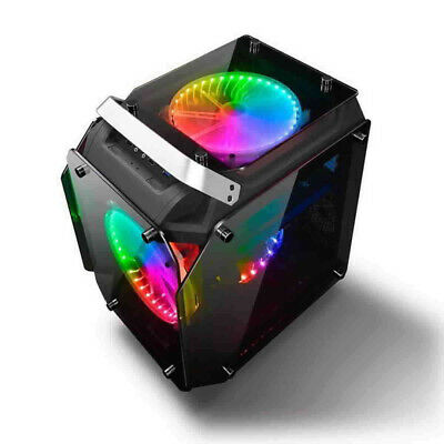 AlphaBetaPC Tempered Glass ATX Computer Case Air Cool PC Case With RGB Fans • 99.99£
