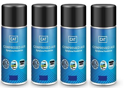4 X Compressed Air Duster Gas Spray / Cleaner, MAX POWER 9 Bar - Can 200ml • 9.49£