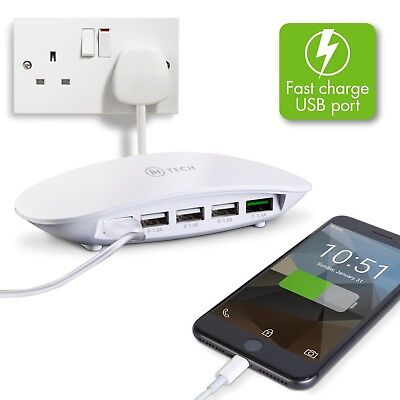 5 Port USB Charging Hub Multi Cable Adapter Ports Plug In Power Dock White • 12.99£