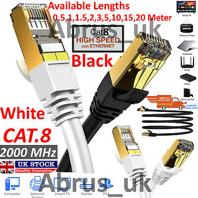 RJ45 Cat8 Ethernet Cable Network Gold Ultra-thin 40Gbps SSTP Patch LAN Lead Lot. • 3.94£