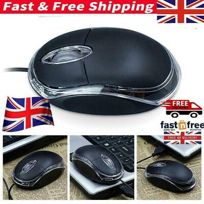 Wired USB Optical Mouse For PC Laptop Computer Scroll Wheel Black UK Stock • 2.85£