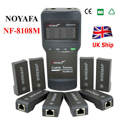 New NOYAFA NF-8108M NetWork Lan Cable Tester Wire Length Tester 8 Remote Units • 40£