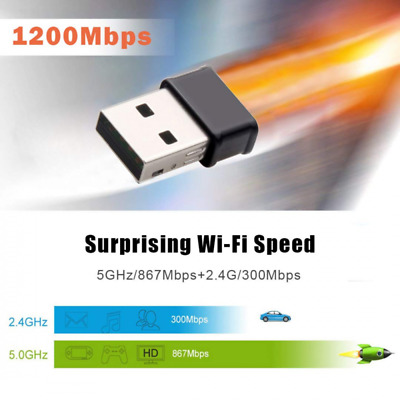 New 1200Mbps Wireless USB WiFi Adapter Dongle LAN 802.11a/b/g/n 5.0Ghz Laptop PC • 9.99£