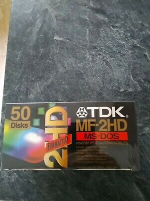 TDK MF2HD 3.5  1.44MB Pre-formatted MS-DOS Floppy Disks - A Box Of 50 Unopened • 50£