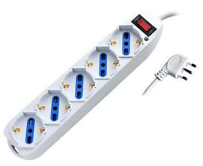 Techly Power Strip 5 Places Italian Bypass/Schuko With Plug 10A • 6.66£