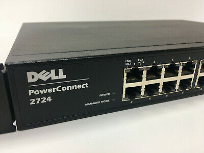Dell PowerConnect 2724 Gigabit Managed 24-Port Switch With Rack Mount Brackets • 15£