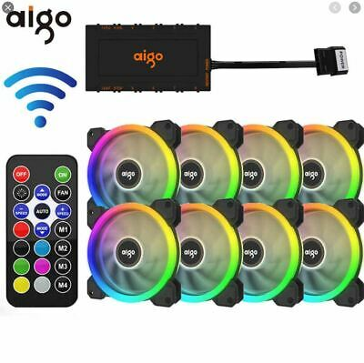 DR12 Kit Aigo 3 8-Pack Aurora RGB LED 120mm Gaming Case Desktop Cooling Fan • 21.99£