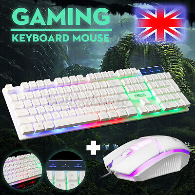 Gaming Keyboard Mouse Set Rainbow LED Wired USB For PC Laptop Xbox One 360 • 9.99£