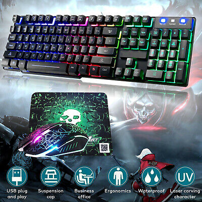 Gaming Keyboard And Mouse Set Backlit Rainbow LED Wired USB For PS4 Xbox One PC • 12.99£