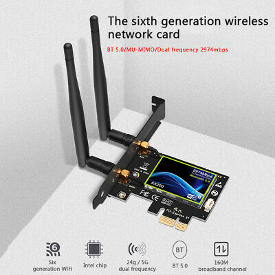Bluetooth 2974Mbps PCI-E WiFi Card 2.4G/5GHz Dual Band Network Adapter For PC • 18.99£