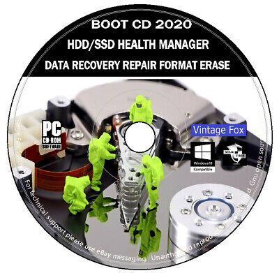 Hard Drive SSD Manager Data Recovery Repair Health Check Format Erase Windows CD • 3.89£
