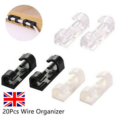 20X Wire Organizer Securing Cable Clamp Storage Clips Buckle Line Finishing UK • 2.19£