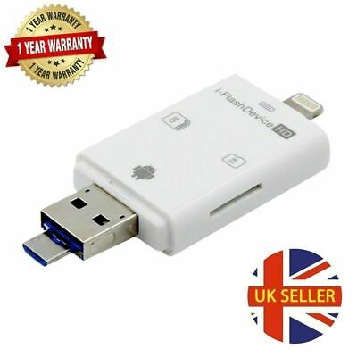 Dual Storage I-Flash Drive Device USB SD CARD READER For IPhone IOS Andriod PC • 8.50£
