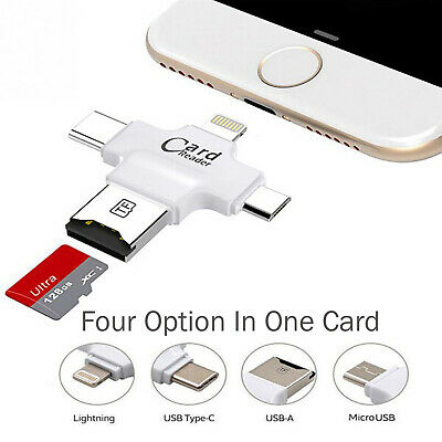 Luxury Micro SD Card Reader(4 In 1) With 8 Pin/USB-C/Micro USB - Black UK Seller • 6.94£
