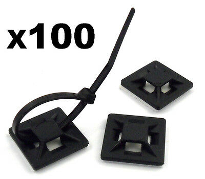100x Self Adhesive Stick-on Mounts For Cable Ties / Routing Looms, Wire & Cable • 4.99£