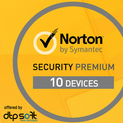 Norton Security Premium 2020 10 Devices 10 PC MAC Internet 1 Year 2019 UK • 19.99£