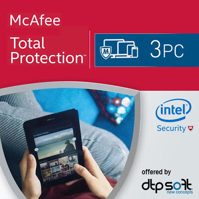 McAfee Total Protection 2021 3 PC 12 Months License Antivirus 2020 3 User's UK • 9.90£