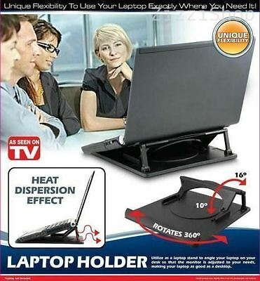 Laptop Stand Cooling Holder Desk Table Tray With Heat Dispersion 360 Swivel Base • 5.83£