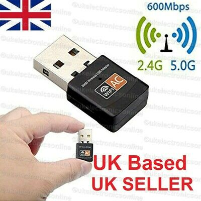 600 Mbps 2.4-5Ghz USB Dual Band Wireless Adapter WiFi Dongle 802.11 AC Laptop PC • 7.45£