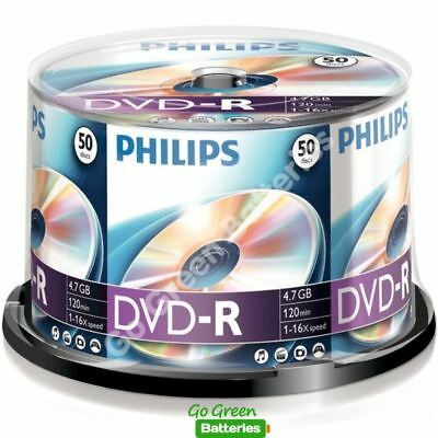 50 X Philips DVD-R Blank Recordable Discs 4.7GB 120 Mins 1-16x Speed Spindle  • 12.99£
