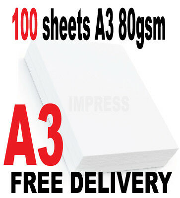100 Sheets A3 High Quality Smooth Hiwhite Paper 80gsm Graphics/art/drawing/print • 6.99£