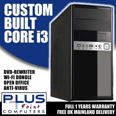 BRAND NEW CORE I3 3RD GEN 3.4GHz COMPUTER TOWER PC 500GB HDD 4GB WINDOWS 10 • 109.99£