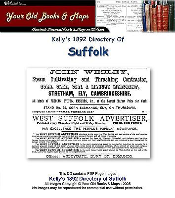 Kelly's Directory Of Suffolk 1892 CDROM • 6.82£