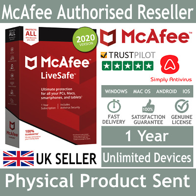 McAfee LiveSafe 2020 Unlimited Multi Devices 1 Year - Physical Delivery By Post • 13£