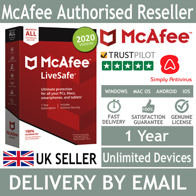 McAfee LiveSafe 2020 Unlimited Multi Devices 1 Year- 5 Minute Delivery By Email* • 12£
