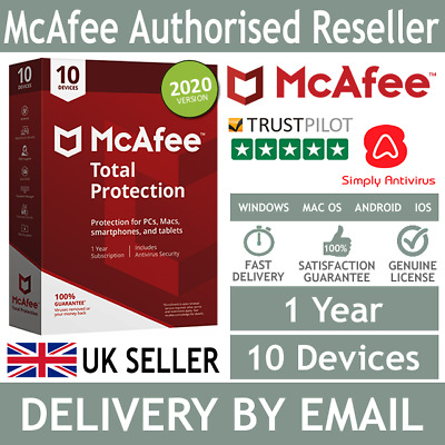 McAfee Total Protection 2020 10 Multi Devices 1 Year 5 Minute Delivery By Email* • 12.99£
