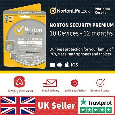 Norton Security Premium 2020 10 Devices + Backup 1 Year *5 Min Delivery By Email • 20.80£