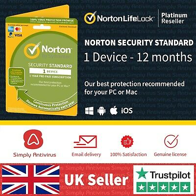 Norton Internet Security Standard 2020 1 Device 1 Year  *5 Min Delivery By Email • 11.99£