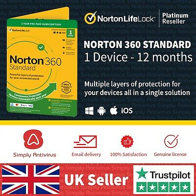 NEW Norton 360 Standard | 1 Device | 1 Year + Secure VPN - *5 Min Email Delivery • 11.99£