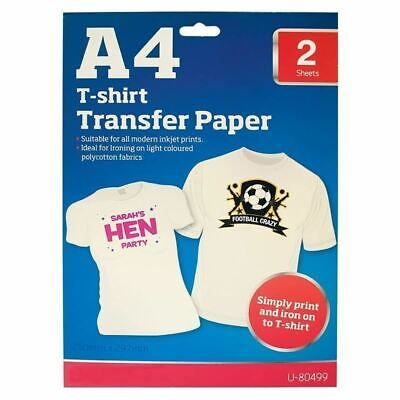 A4 Heat Transfer Iron-On Paper For Light Fabric Cloth T-shirt Professional 2Pc • 3.39£