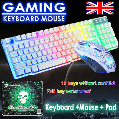 Keyboard Mouse Set PC PS4 PS3 Xbox One T6 And Gaming Rainbow Backlit Mechanical • 18.89£
