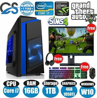 Super Fast Gaming PC Computer Bundle Intel Quad Core I7 16GB 1TB 4GB GTX1050Ti • 429.99£