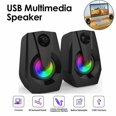 LED Speakers PC Surround Sound System Gaming Deep Bass USB LED Desktop Computer • 21.15£