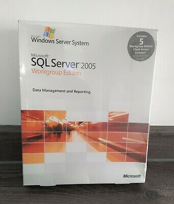 MICROSOFT SQL SERVER 2005 WORKGROUP EDITION With 5 CALS ( A5K-01017) • 79.95£
