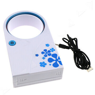 Mini USB Portable Fan Blue Bladeless Air Refrigeration Desktop Conditioner Cool • 8.58£