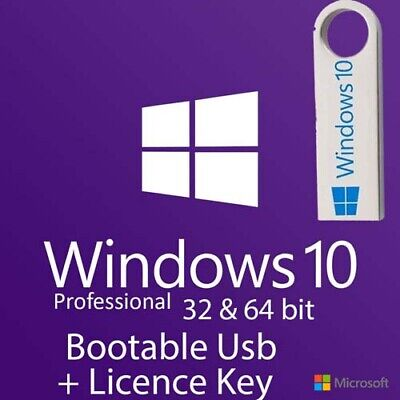 Windows 10 Pro 32/64Bit Bootable Pre-Booted USB Flash Drive + Activation Code • 14.39£